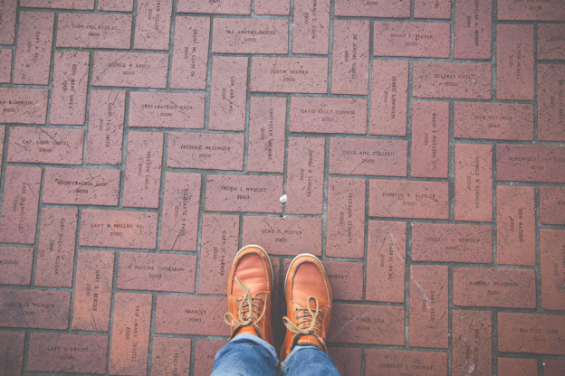A brick pavement